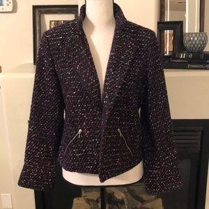 Chico's Size 1 M Purple Tweed Blazer Jacket